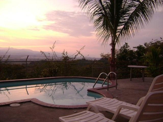 Pool view at sunrise