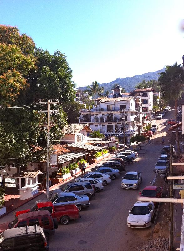 View to the street and there's the Sierra Madre as backgroud