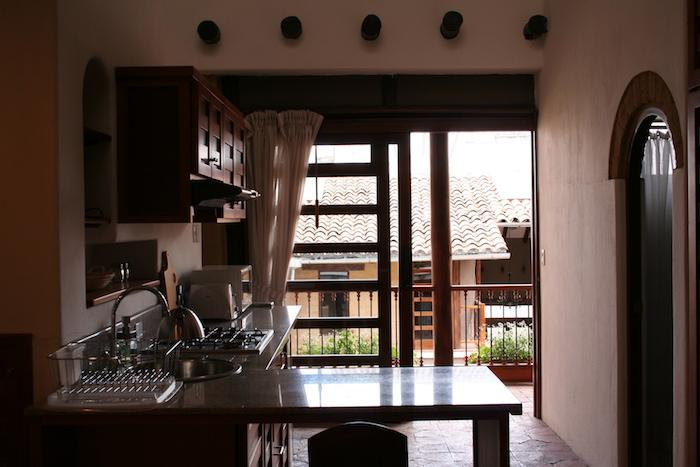 A view from the kitchen towards the courtyard