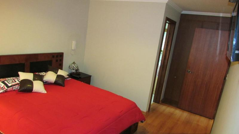 master bedroom with queen bed, LCD 32, 2 closets and balcony