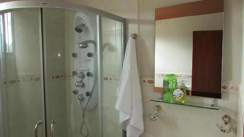 Bathroom equipped with liquid soap, shampo, complete set of towels and toilet paper