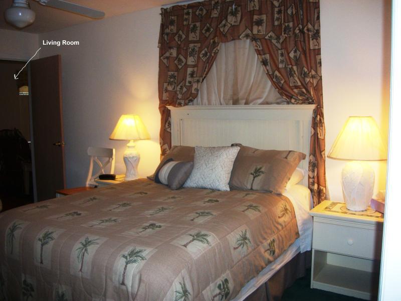 Queen bed in BR, connecting door to Living room