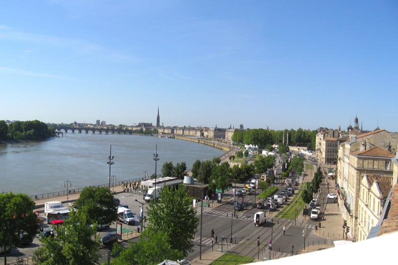 The view from the terrace over the old city of Bordeaux and the river Garonne