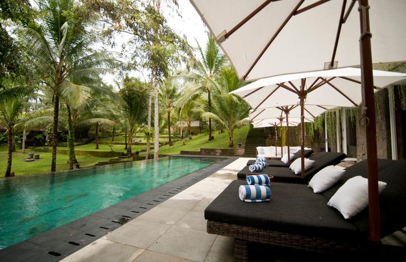 La piscine est de 15 m x 6 - et offre une vue imprenable sur les jardins