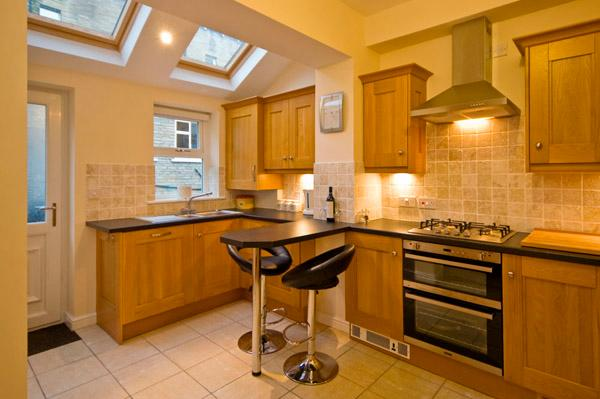 Fully Equipped Modern Kitchen, with attached downstairs toilet / laundry room
