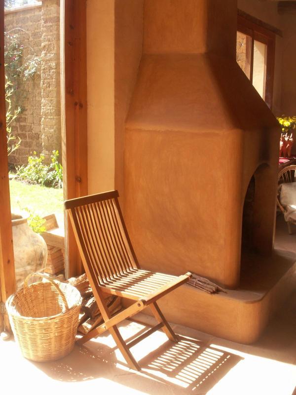 Fireplace in the living room with garden door