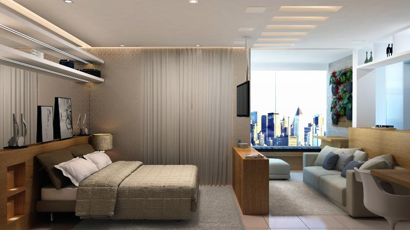 Spacious living with swivel TV and integrated balcony