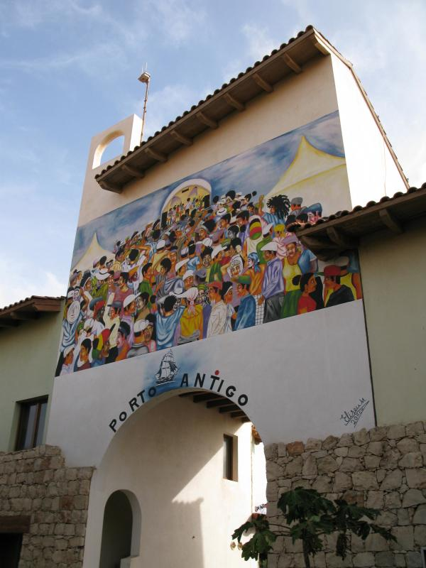 Main entrance to the pool area complete with a mural painted by a local artist.