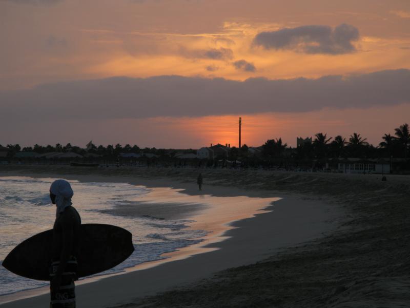 A sunset surf