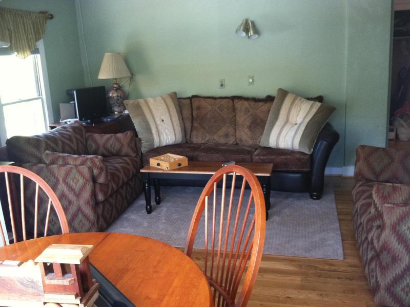 Livingroomwith hardwood floors/area rugs