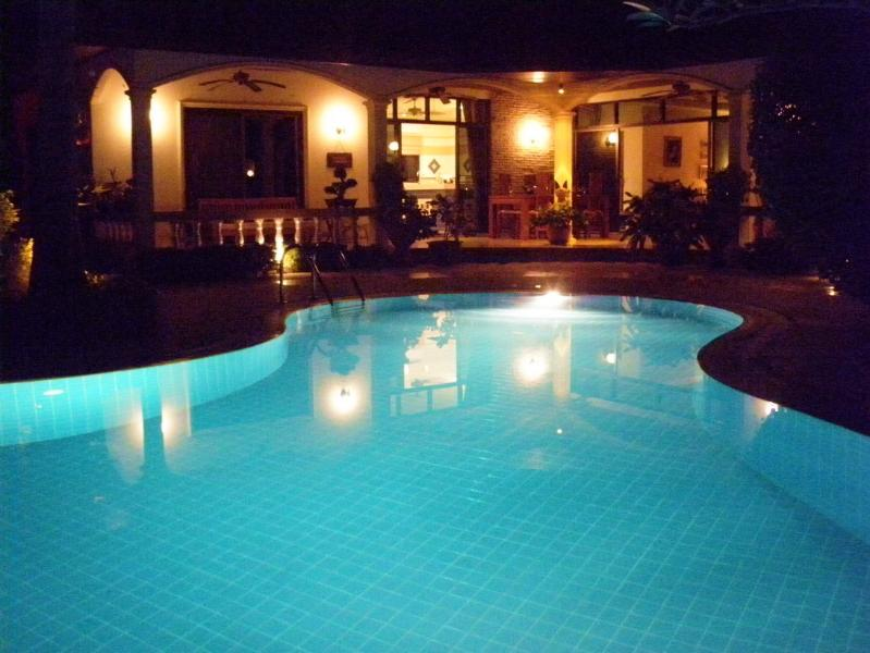 THE VILLA FROM THE POOL AT NIGHT TIME