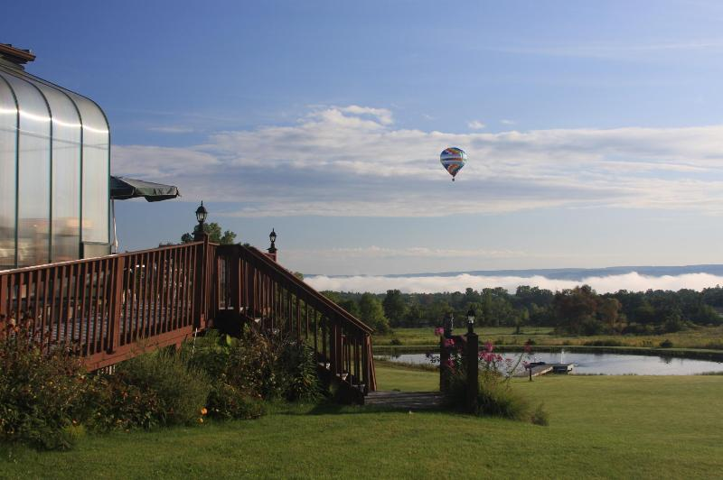 Balloons flying over the valley