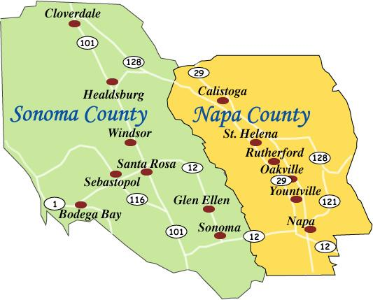 Sonoma and Napa.