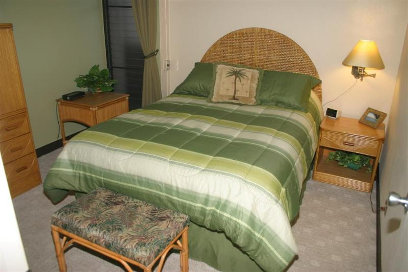 Queen sized bed with comfortable furniture