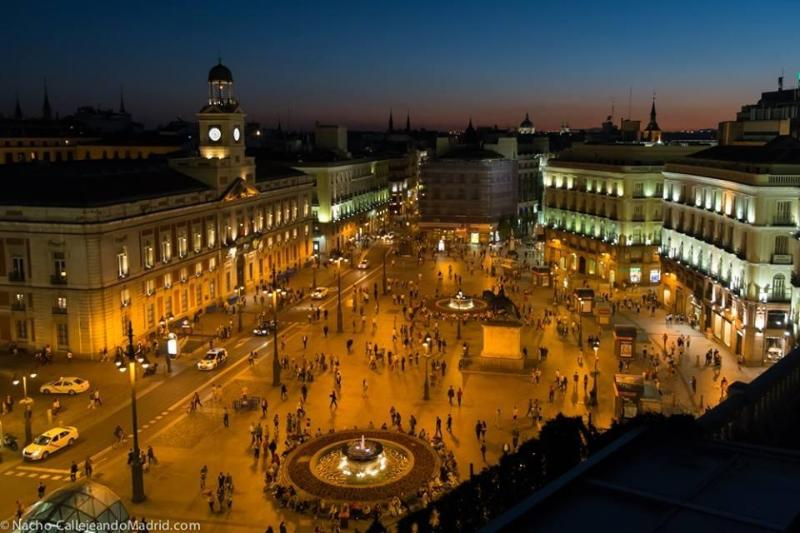 Puerta del Sol, one of the city's most  popular meeting places.