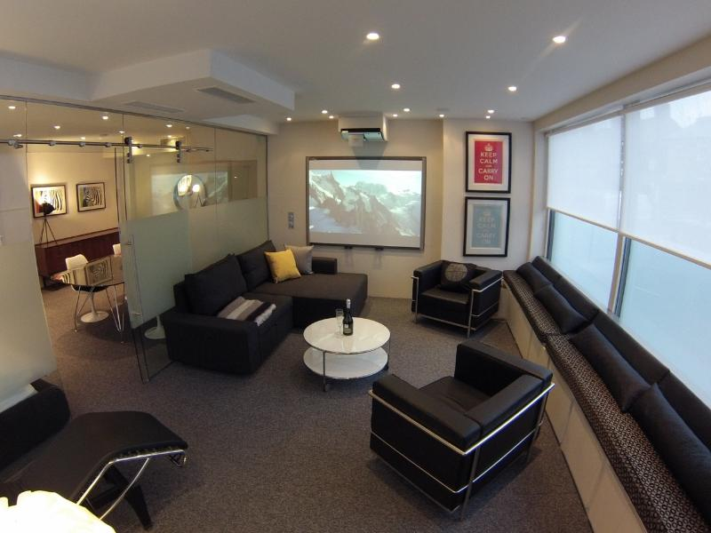 LondonRiversideFlat -- Livingroom with cinema screen and fold out bed