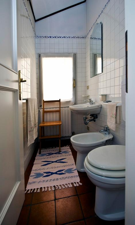 Smaller bathroom. Detergents and household cleaning tools are provided. 'Clean' is a key word to us.