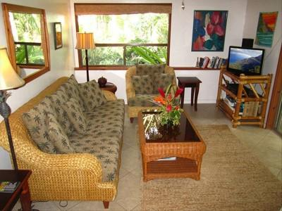 Comfortable living area with gorgeous views of the gardens