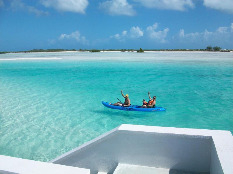 Guest enjoying a kayak ride back from Man-O-War Cay.