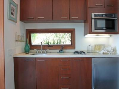Kitchenette with small fridge, gas stove top, micro/traditional oven, Keurig coffe maker etc..