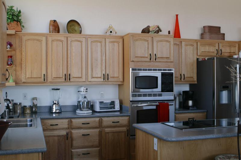Upgraded kitchen with top of the line GE profile stainless steel appliances