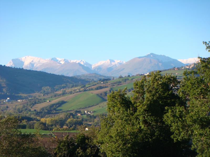 A Sibillini Mountain view from Villa Miramonti gardens