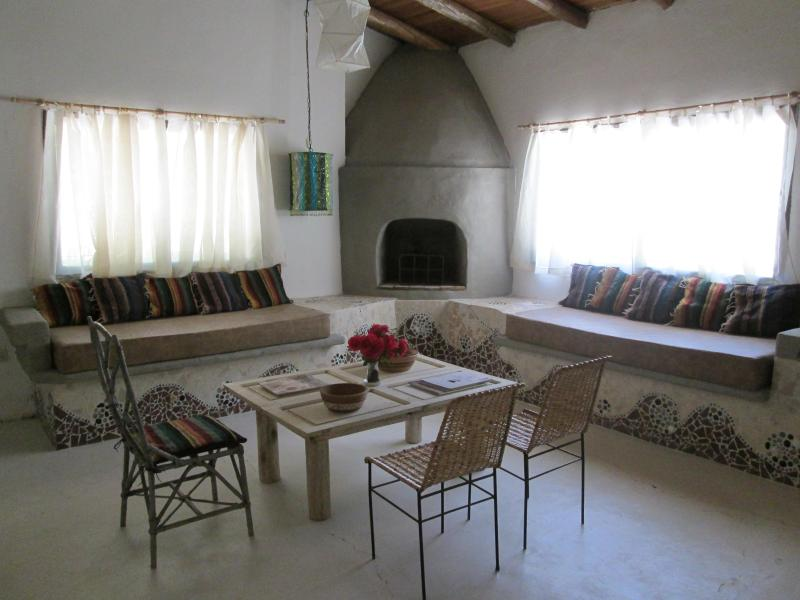 Santa Fe-style fireplace in Casona