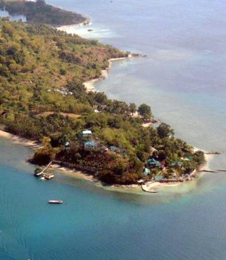 aerial view of south point Gili Gede, Secret Island