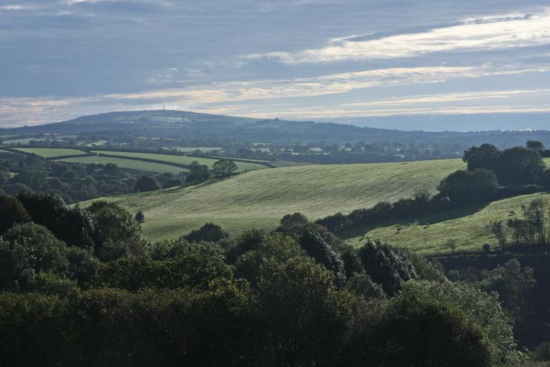 View from lodge towards Kit Hill