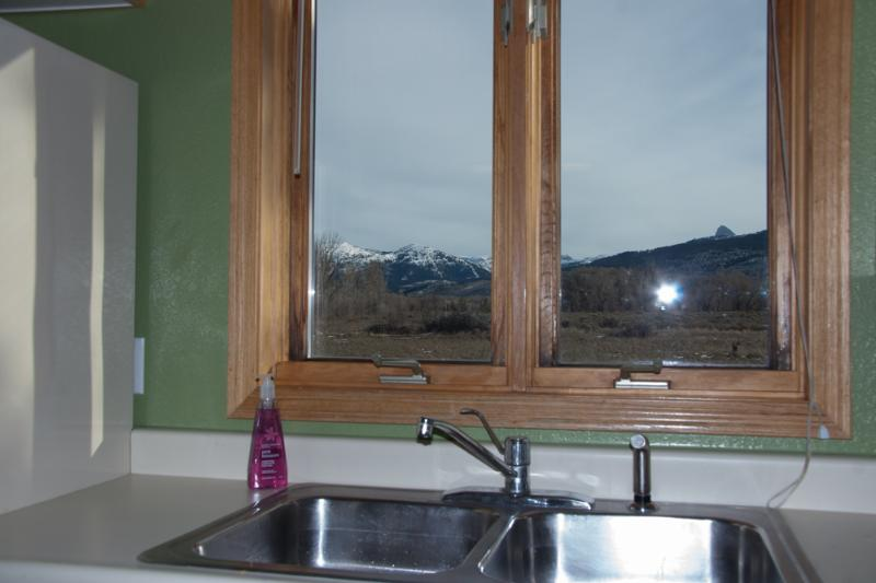 Kitchen looking at the Grand Teton and Grand Targhee while doing dishes
