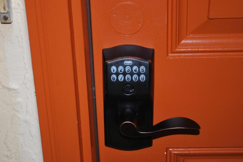 Keypad entry, no more keys to lose in the sand.