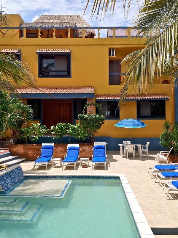 Preciosa piscina en medio de jardines exuberantes con arena Hamaca de la zona.
