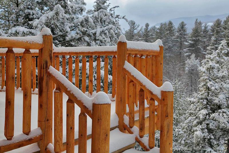 cedar railing deck in winter