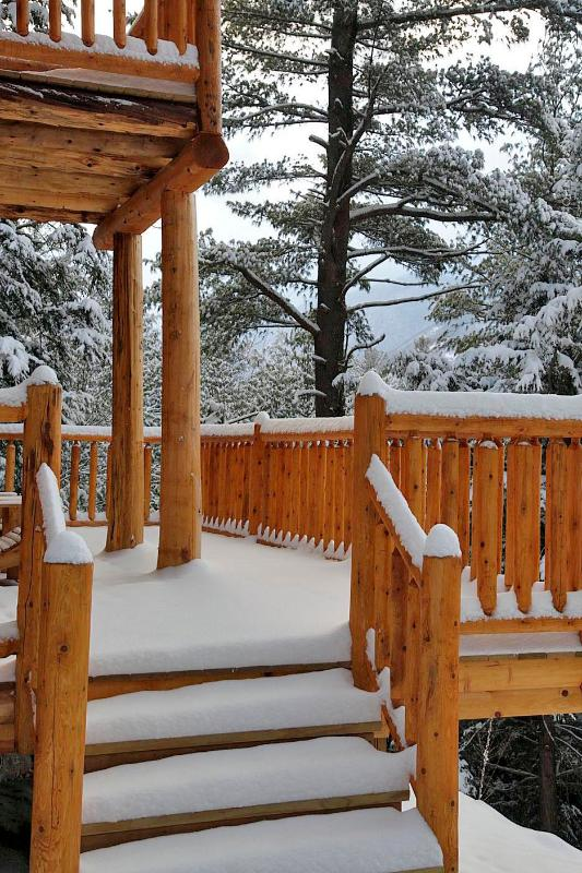the cedar deck. Whiteface can be seen beyond the large white pine in the photo