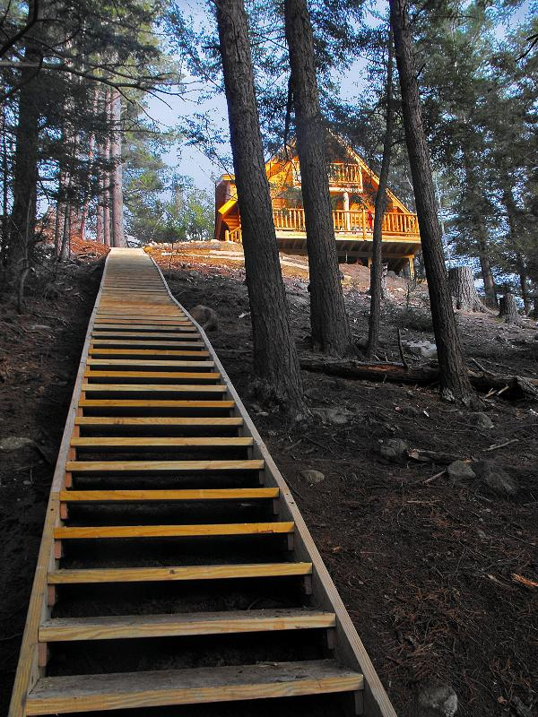 Stairs leading from the house down to the Ausable River frontage