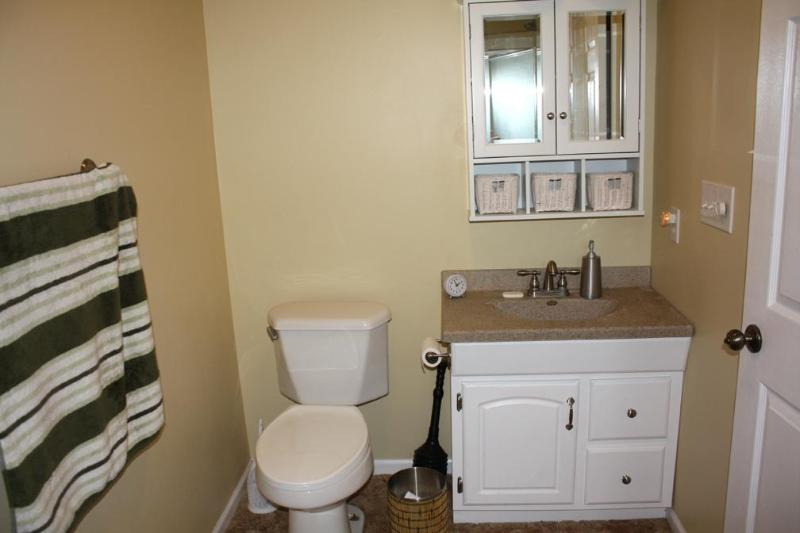 The bathroom includes a full-size shower. Towels and basic toiletries are provided.