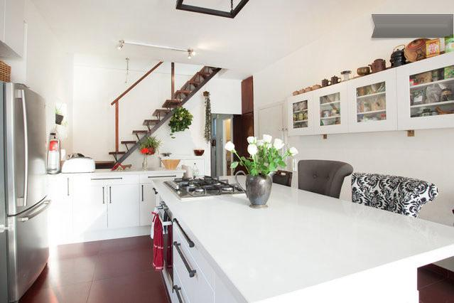 Kitchen Island and Stairwell to Roof