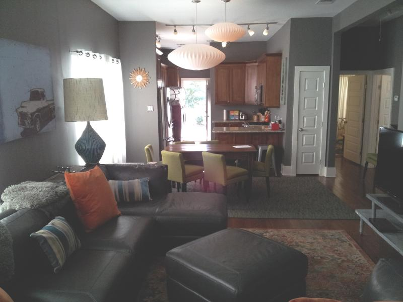 Living room, dining area, kitchen- open floor plan.  Plenty of room for families and entertaining