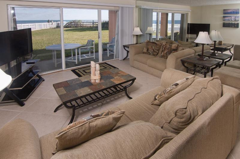 Living room with oceanfront view and new 50' HD LED plasma TV