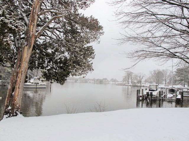 Bay Cottage's water view, snow day, 2014