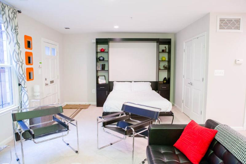 Living room with queen size Murphy bed