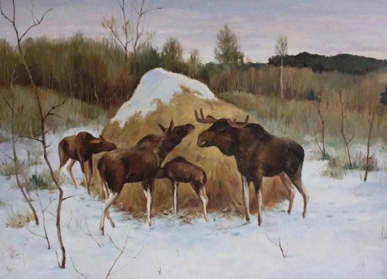 Emblema da Dacha é a pintura de uma família de alce na hora do almoço.