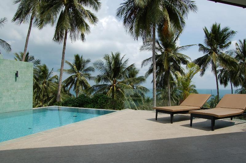 Infinity pool and beautiful sea and jungle views