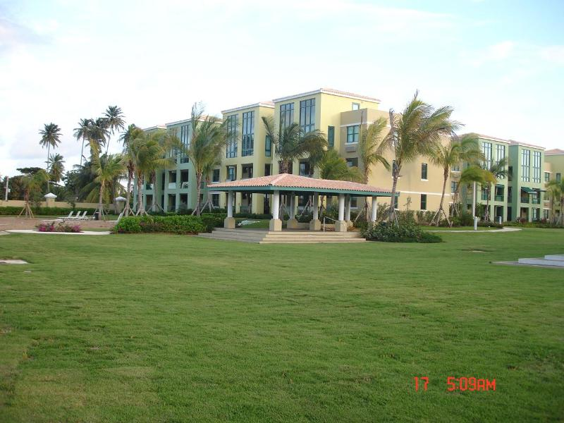 View of our building from the beach gate