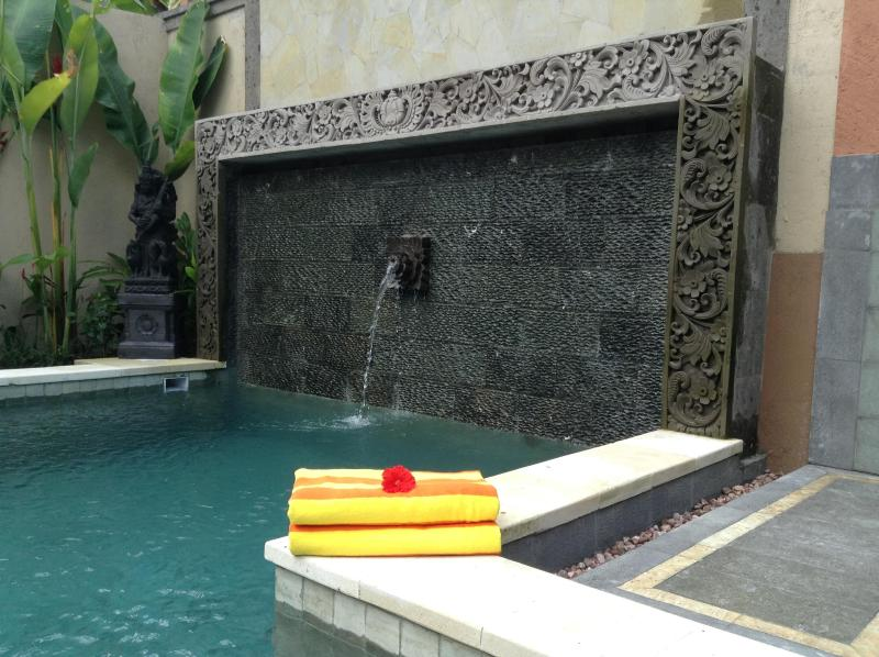 Artisan pool with hand carved stone and water features