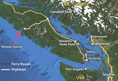 Carte de l'île de Vancouver