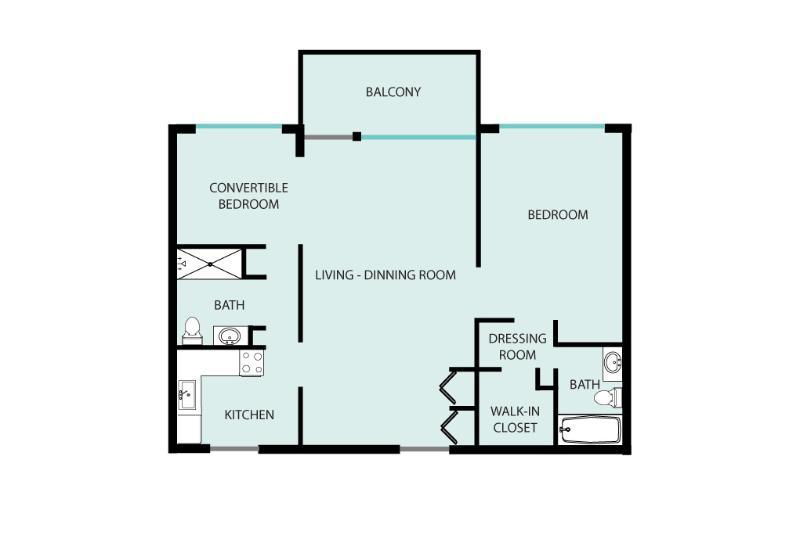 piano piano di suite JR, seconda camera da letto è completamente chiuso fuori dalla zona giorno, ha una porta
