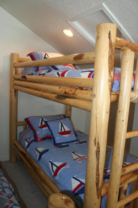Sleeping loft, twin over twin bunkbed