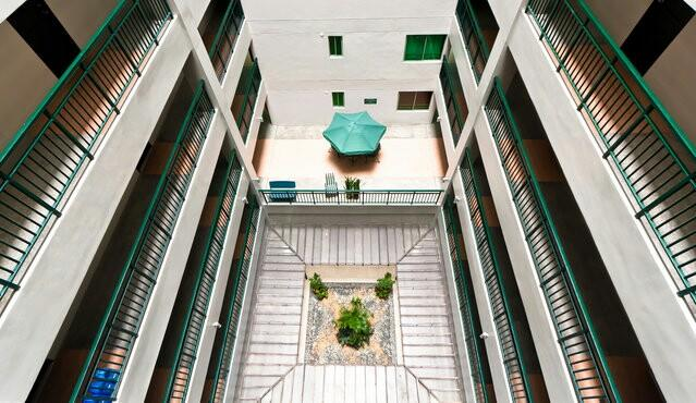 Hallway balcony with a Patio on the second floor. No worries, the Roof deck is spectacular too.