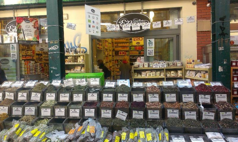 Under the apt are shops with organic/biological products, greek traditional delicacies, superfoods